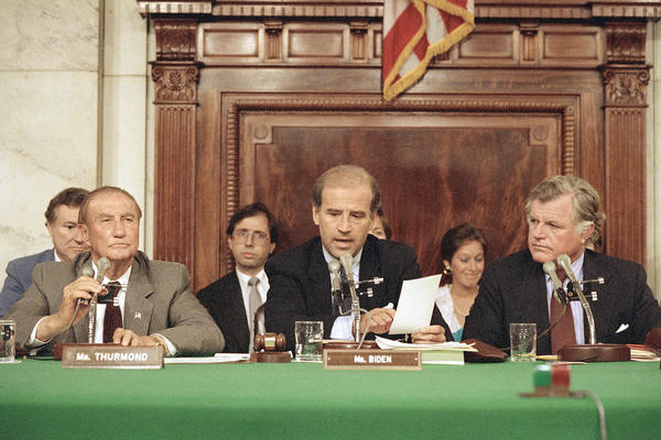 In 1987, then-Sen. Joe Biden, D-Del., center, was running for president and also chair of the Senate Judiciary Committee, responsible for leading the Supreme Court confirmation hearings of Robert Bork.