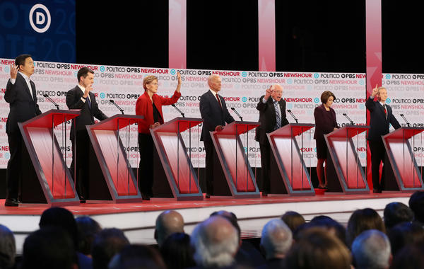 Democratic presidential candidates debate Thursday night at Loyola Marymount University in Los Angeles.