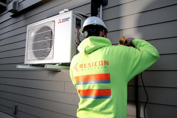 A heat pump is installed on a home near Seattle, Washington.