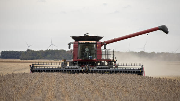 A farmer operates a combine to harvest soybeans in Wyanet, Ill. Farmers got more than $22 billion in government payments in 2019. It's the highest level of farm subsidies in 14 years.