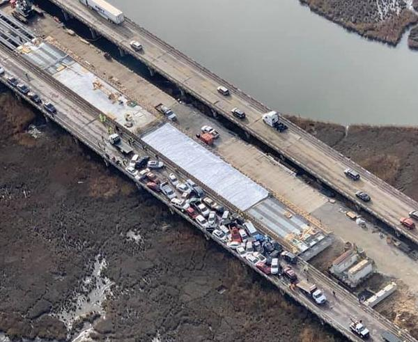 An aerial view of the pileup along Interstate 64 in Virginia, which authorities say involved nearly 70 vehicles.