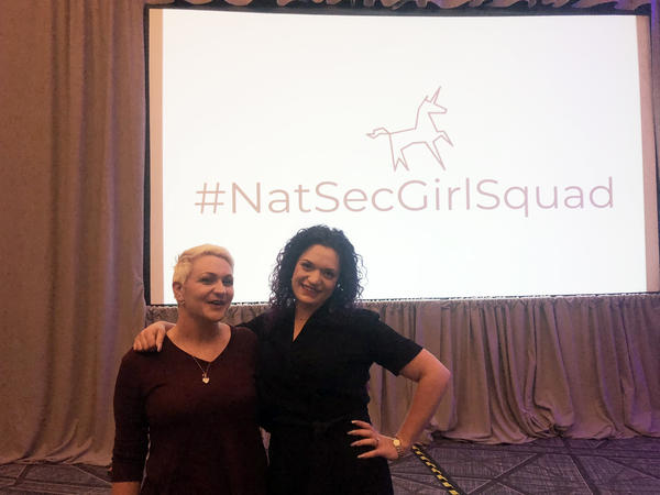 Liese Siegenthaler (left) and Maggie Feldman-Piltch attended the recent conference. #NatSecGirlSquad creates opportunities for networking and mentorship and provides professional development support to women at various stages of their national security careers.