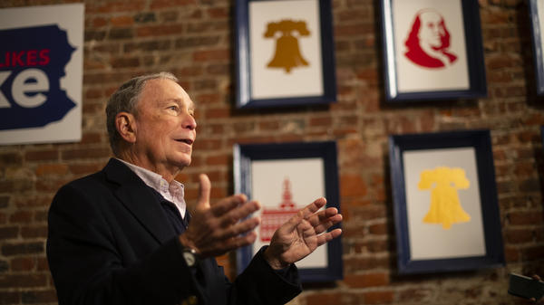 Democratic presidential candidate Michael Bloomberg addresses the press from his Philadelphia field office on Dec. 21. The former New York City mayor entered the race late and is not contesting the early primary states, instead concentrating efforts toward Super Tuesday and beyond.