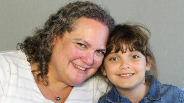 Dena Kohleriter, 46, and her daughter, Jori, 8, at their StoryCorps interview in Dallas on Nov. 8, 2019.