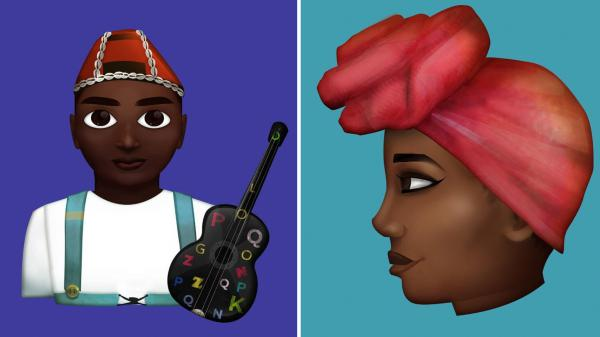 Stickers designed by Grebet depict a local musician (left), and a woman wearing a traditional head scarf.