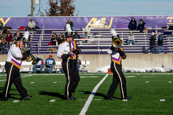 Frank Stanek (far left) performs for a final time with the Ashland University Marching Band.