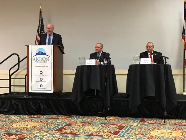 Incumbent Mayor Dan Horrigan and Republican challenger Josh Sines took the stage,  at Quaker Station for the Akron Press Club's mayoral debate,  moderated by retired Akron Beacon Journal Editor Bruce Winges.