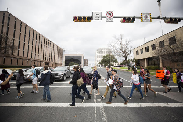 Students participating in the Migration is Sweet demonstration in 2018. Texas' population is growing because of people moving here, but also because of the birth rate. And, by about 2021, Texas' Latino population will surpass that of non-Hispanic whites.