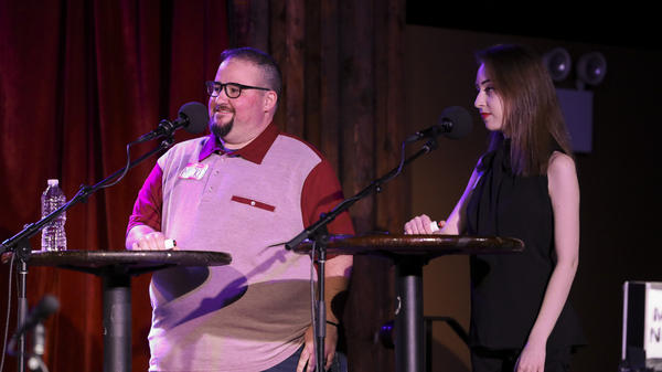 Contestants Mickey Lambert and Damian Benskin appear on <em>Ask Me Another</em> at the Bell House in Brooklyn, New York.
