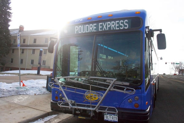 A Poudre Express bus pulls up to a stop along its new route between Fort Collins, Greeley and Windsor.