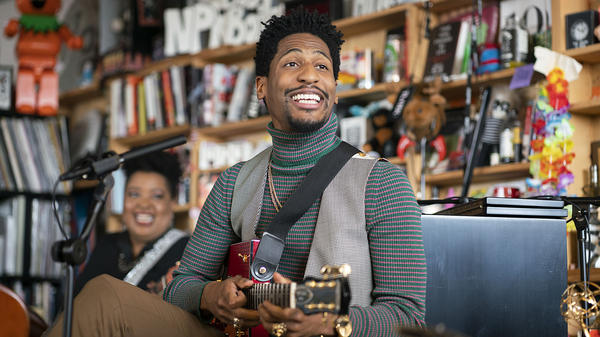 Jon Batiste performs during Tiny Desk on November, 8 2019. (Photo by Mhari Shaw/NPR)