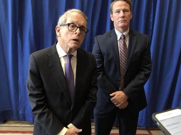 Gov. Mike DeWine (R-Ohio) and Lt. Gov. Jon Husted (R-Ohio)