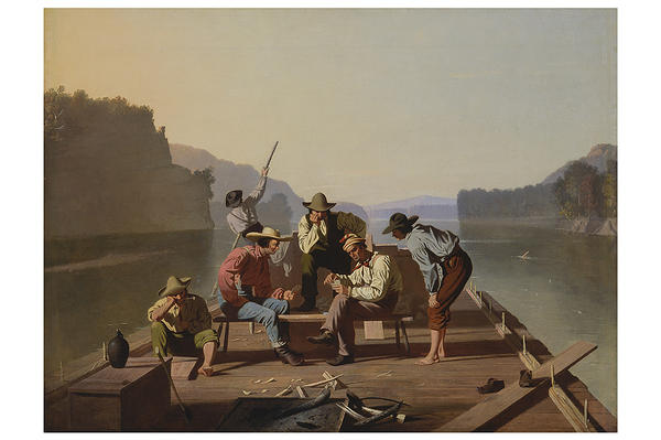 'Raftsmen Playing Cards' by Missouri artist George Caleb Bingham is on view at the Saint Louis Art Museum.