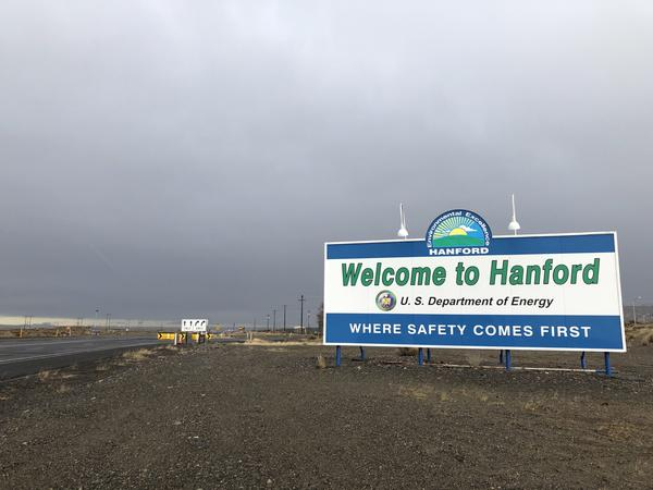 File photo. A new sign graces the entrance onto the Hanford site near Richland, Wash.