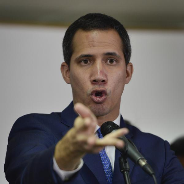 Opposition leader Juan Guaidó gives a news conference in Caracas, Venezuela, on Monday.