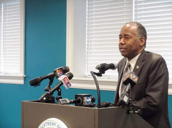U.S. Housing and Urban Development Secretary Ben Carson discusses proposed fair housing rules changes Tuesday at Renaissance West.