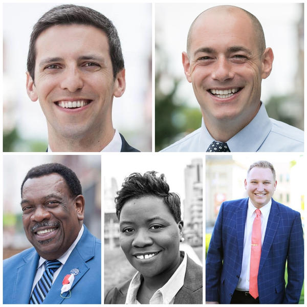 Clockwise from top left: P.G. Sittenfeld, Greg Landsman, Chris Seelbach, Tamaya Dennard and Wendell Young.
