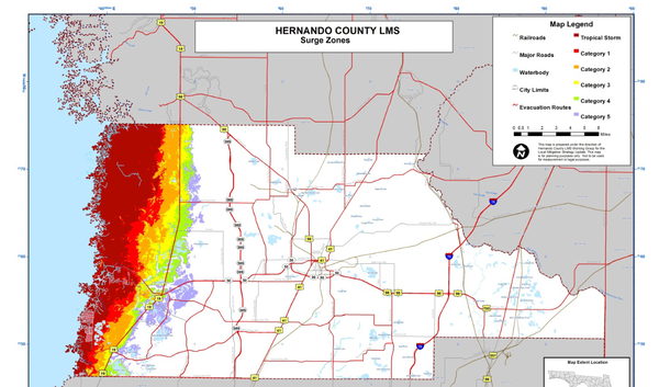 Map of storm surge effects in coastal Hernando County. Courtesy Hernando County
