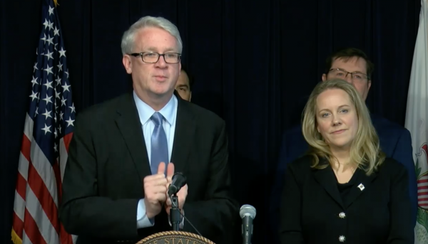 From left, House GOP Leader Jim Durkin and Rep. Deanne Mazzochi answer questions at a press conference in Chicago on Jan. 8