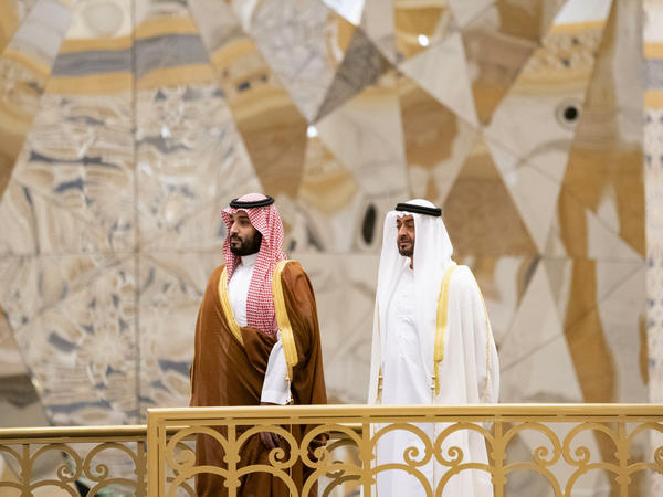 Saudi Crown Prince Mohammed bin Salman (left) attends a ceremony with Abu Dhabi Crown Prince Mohammed bin Zayed Al Nahyan in Abu Dhabi, United Arab Emirates, in November. The Saudi crown prince was in the UAE for talks that were expected to focus on the war in Yemen and tensions with Iran.