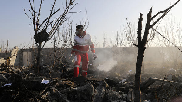 A rescue worker combs the wreckage of a Ukraine International Airlines plane near Iran's Imam Khomeini International Airport on Wednesday. All 176 people on board died in the crash, which Ukraine is now investigating.
