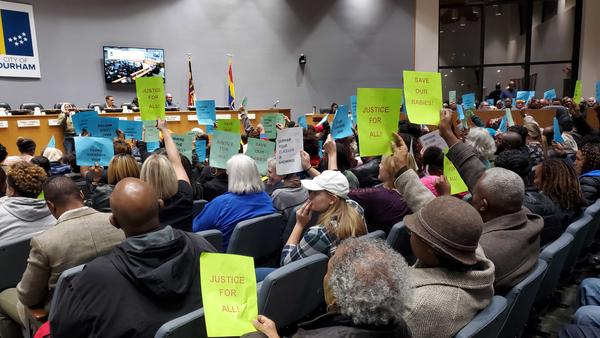 McDougald Terrace residents showed up in full force at the Durham City Council meeting on Monday night.