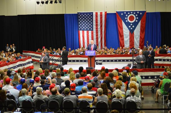 Donald Trump campaigned at the Columbus Convention Center on August 1, 2016. It was one of three visits he made to the Columbus area that year.