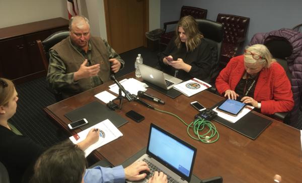 House Speaker Larry Householder speaks to reporters