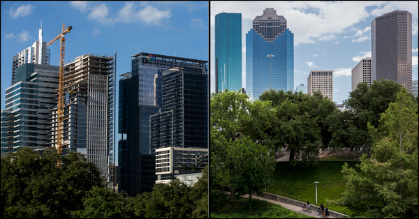 Austin, left, and Houston are both growing, but each city is managing that growth differently.