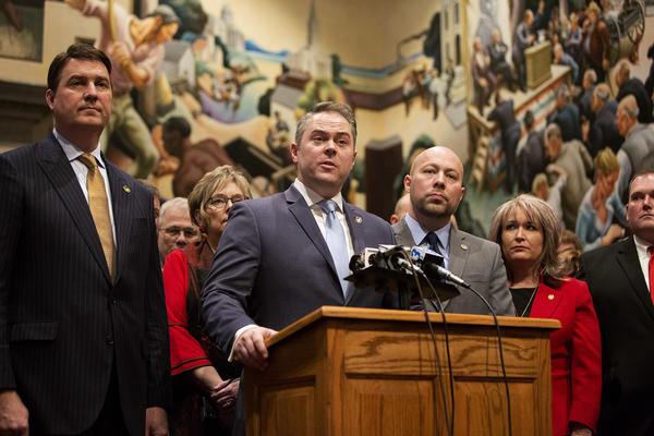 House Speaker Elijah Haahr and House Republicans speak to news reporters following the first day of the 2020 Missouri legislative session in Jefferson City.
