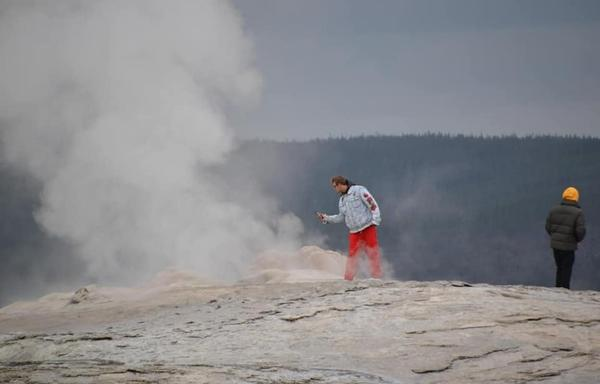 Schefflin and Goetz were seen walking on the cone of Old Faithful Geyser in Yellowstone National Park in September, 2019.
