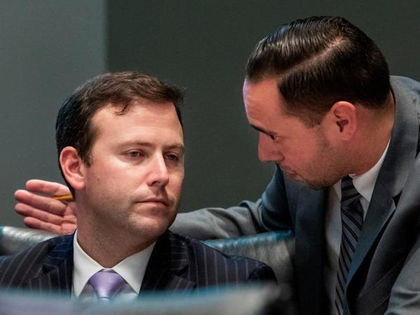House Speaker Chris Sprowls listens to another lawmaker. (News Service of Florida)