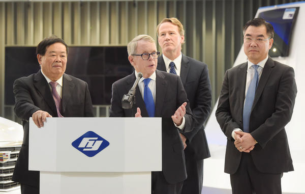 From left to right: Fuyao Chairman Cho Tak Wong, Ohio Governor Mike DeWine, Lt. Governor Jon Husted, and China Consul General Huang Ping.