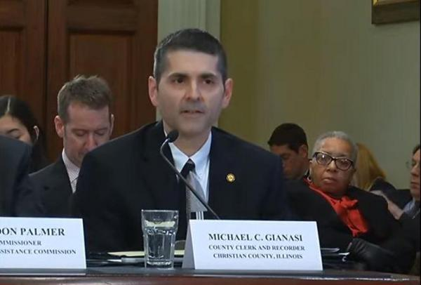 Christian County Clerk Michael Gianasi at a Congressional hearing Jan. 9