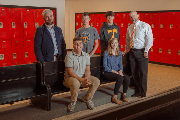 From left, the team of teacher Tim Wasem; students Caleb Miller, Jaxton Holly, John Gouge and Deanna Hull; and teacher Alex Campbell won the NPR Student Podcast Challenge.