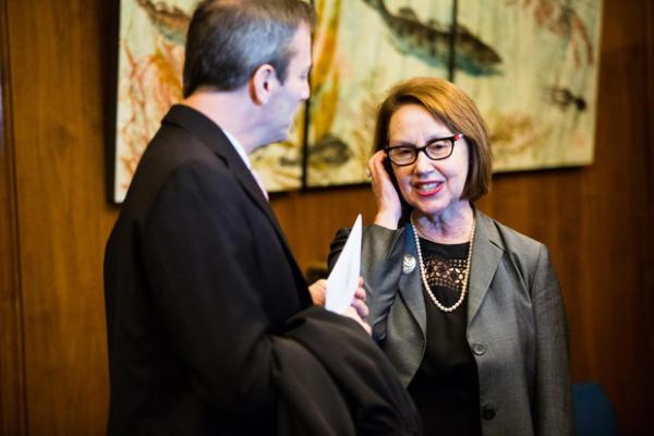 <p>Oregon Attorney General Ellen Rosenblum waits for the start of Oregon Gov. Kate Brown's inaugural address at the state Capitol in Salem, Ore., Monday, Jan. 14, 2019.</p>