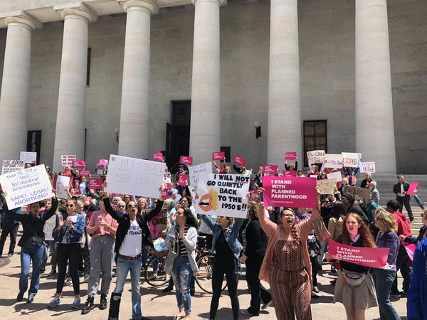 Supporters of legal abortion at Ohio Statehouse
