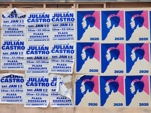 Julián Castro posters remain on an abandoned building on San Antonio's West Side the weekend after he announced his campaign suspension.