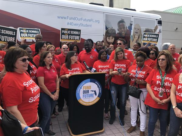 Broward County teachers union leaders and members have participated in a statewide campaign asking lawmakers to increase funding for public schools. It's culminating in a rally outside the Capitol.