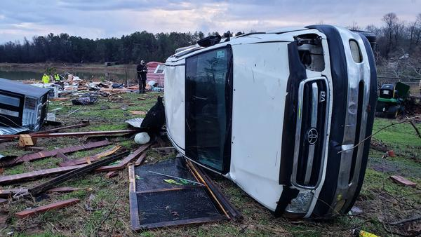 This photo provided by the Bossier Parish Sheriff's Office shows damage from Friday night's severe weather, including the demolished home of an elderly couple who died in Bossier Parish, La.