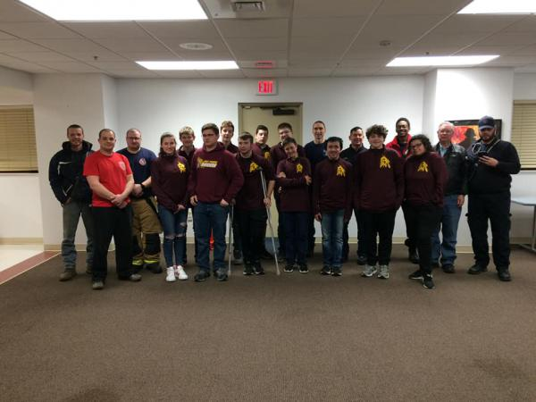 EPCHS chess team with Downs firefighters