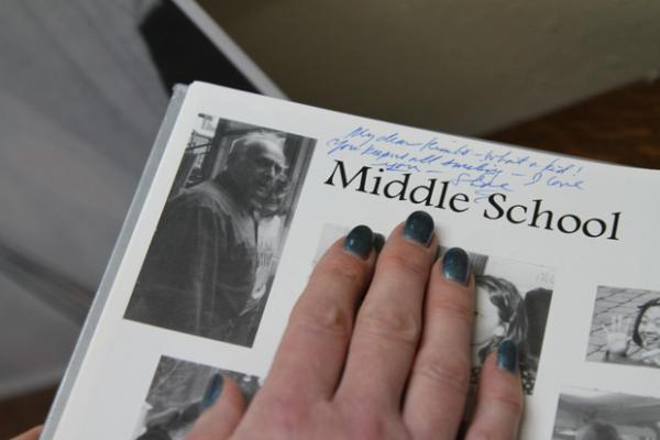 """<p>A note in Kim Wilson's yearbook, attributed to """"Shoe"""" (Richardson Shoemaker), reads """"My dear Kimbo -- what a kid! You keep us all smiling -- I love you.""""</p>"""