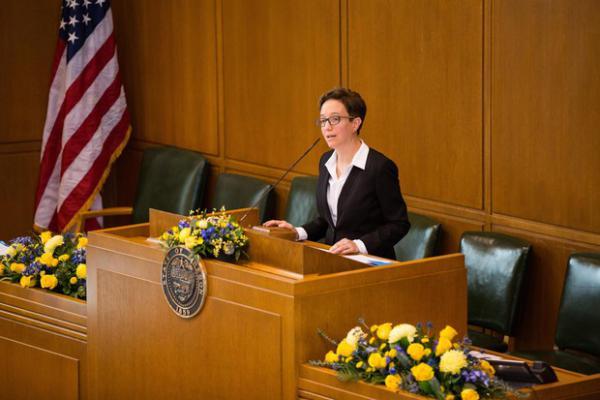 <p>House Speaker Tina Kotek, D-N/NE Portland, addresses the Oregon House of Representatives in Salem, Ore., Monday, Jan. 14, 2019.</p>