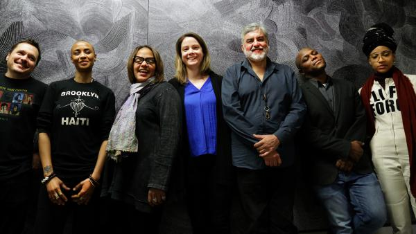 For her album <em>Diatom Ribbons</em>, pianist Kris Davis assembled a group of musicians who, taken together, represent just about everything happening at the edges of jazz right now. (Pictured, from left to right: Trevor Dunn, Val Jeanty, Terri Lyne Carrington, Davis, Tony Malaby, JD Allen and Esperanza Spalding)
