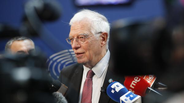 The European Union's foreign policy chief, Josep Borrell, talks to reporters Tuesday at the European Parliament<em> </em>in Strasbourg, France. The same day, the U.K., France and Germany announced they were lodging a dispute against Tehran under the Joint Comprehensive Plan of Action, or JCPoA, better known as the Iran nuclear deal.