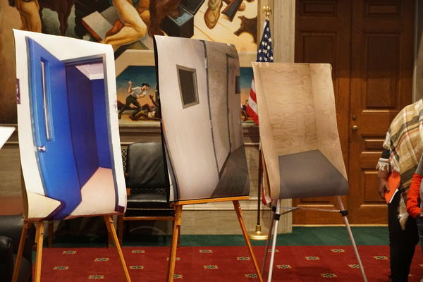 At a press conference on Monday, lawmakers displayed pictures of seclusion rooms used in schools in Missouri.