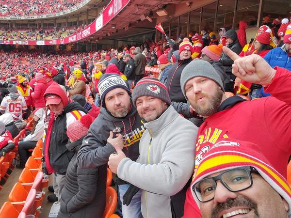 Kansas City Chiefs fans celebrate as the team clenched its spot Sunday in the AFC championship game.