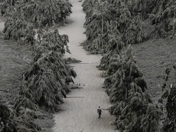 A man walks on a road blanketed with volcanic ash from the erupting Taal Volcano in Tagaytay, Philippines, on Tuesday.