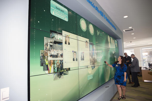 A large, interactive video wall is one of the many high-tech features of the new USF Health Morsani College of Medicine and Heart Institute. DAYLINA MILLER/WUSF PUBLIC MEDIA