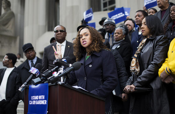 State's Attorney Marilyn Mosby, the top prosecutor in Baltimore, expressed support for St. Louis Circuit Attorney Kim Gardner during a press conference outside the Carnahan Courthouse on Tuesday.